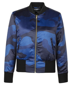 Blue DPM Cropped Bomber Jacket - MARBEK