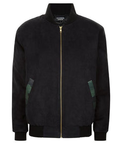Black Suede Field Bomber Jacket - MARBEK