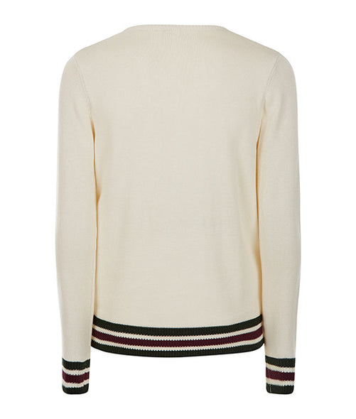 Cream College Sweater - MARBEK