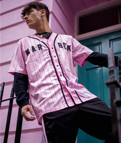 Pink Pin Striped Baseball Jersey