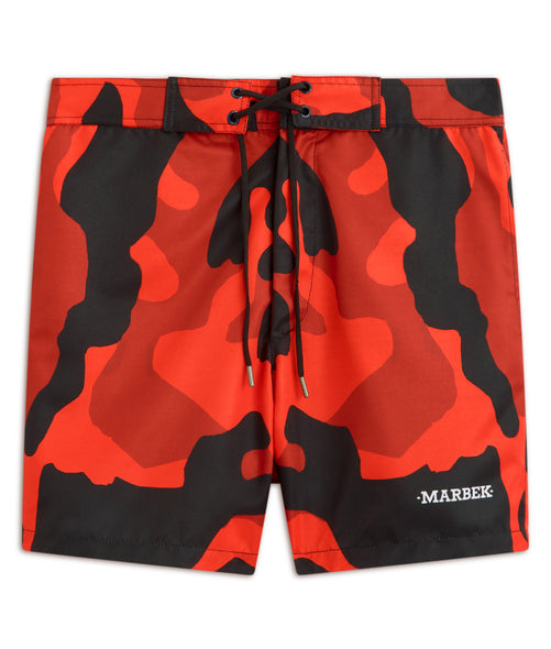 Red Camo Print Trunks