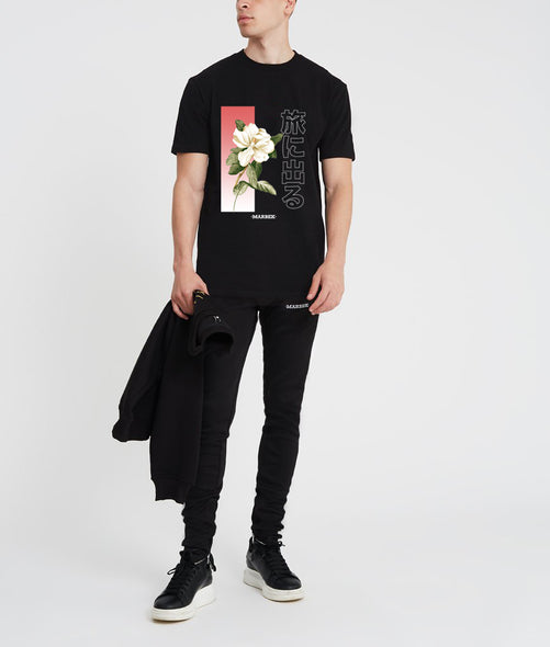 White Rose Black T-shirt