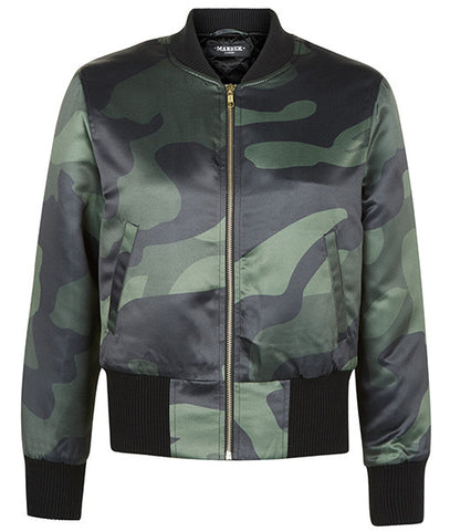 Green DPM Cropped Bomber Jacket