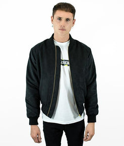 Black Suede Field Bomber Jacket