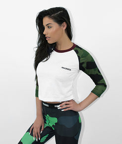 Ladies Green Camo 3/4 Raglan Sleeve Tee