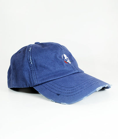 Skull Logo Distressed Blue Cap