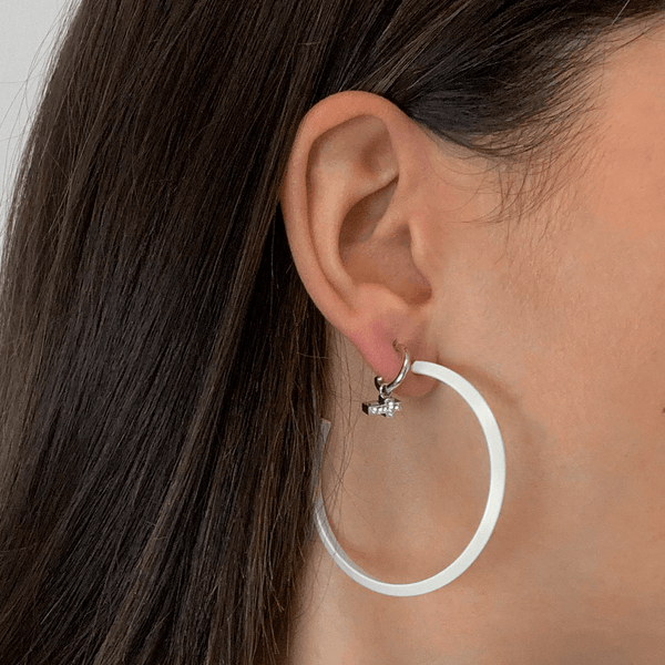 "WHITE TRIANGLE 2"" Earrings"