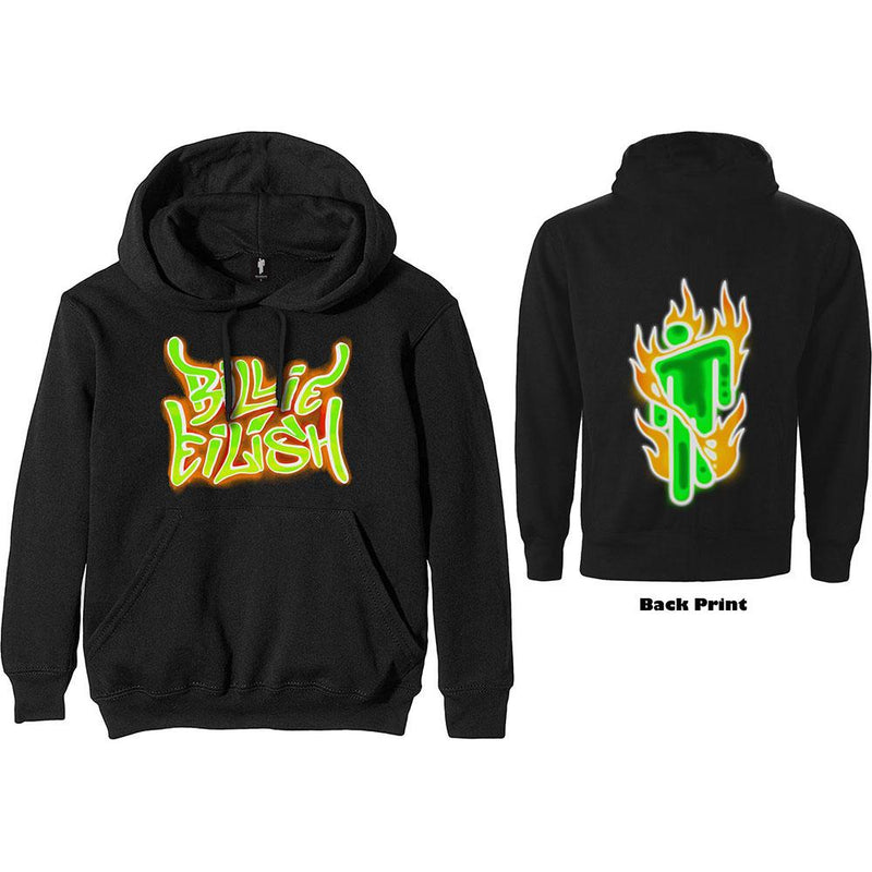 Billie Eilish | Airbrush Flames Blohsh | Hooded Sweatshirt