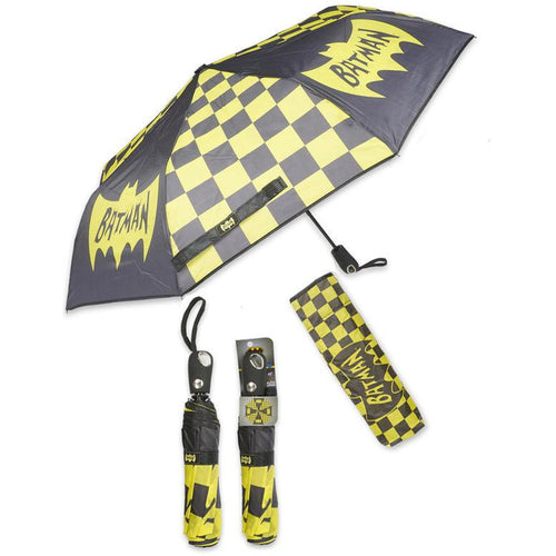 Batman | Retro Bat Logo Black & Yellow Checker Compact Folding Umbrella