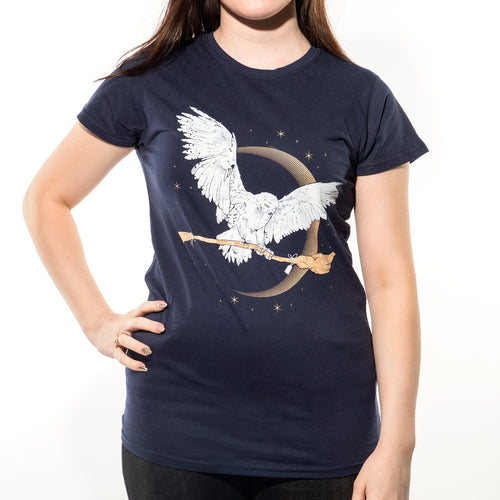 Harry Potter - Hedwig Broom Womens T-Shirt