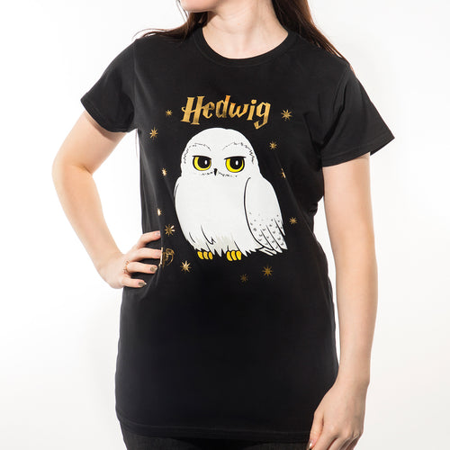 Harry Potter | Foil Hedwig Stars Fitted T-Shirt Black
