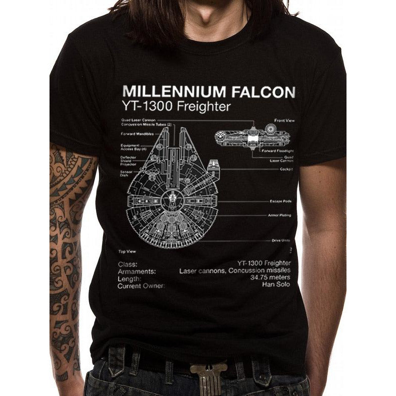 Star Wars - Falcon Blueprint T-shirt