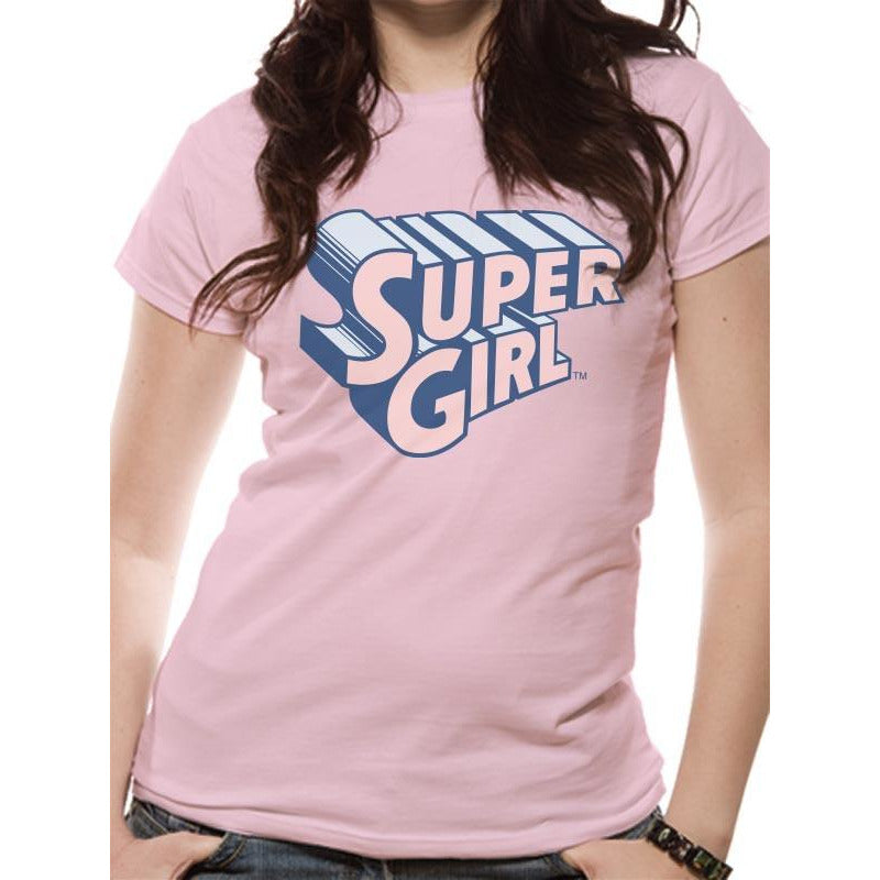 Buy Supergirl (Text & Logo) Fitted T-shirt online at Loudshop.com