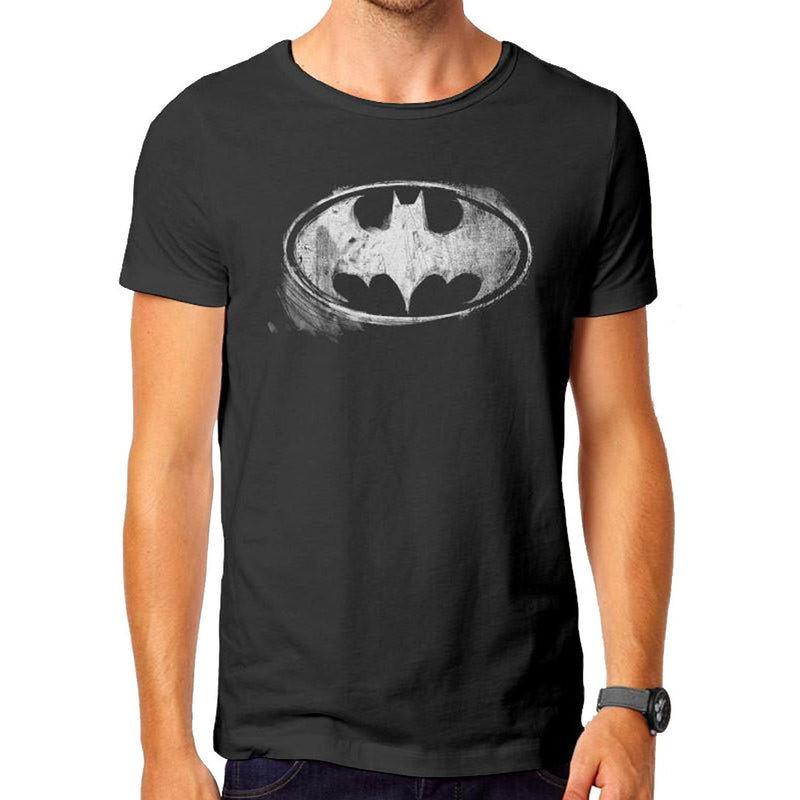 Batman - Logo Mono Distressed Vintage T-Shirt