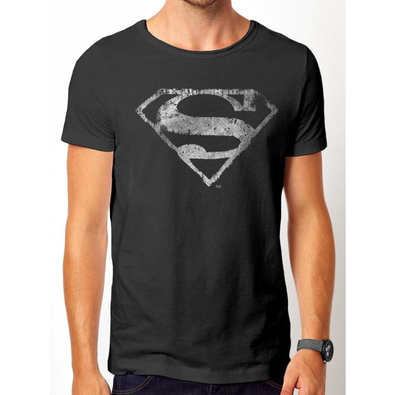 Superman | Logo Mono Distressed T-Shirt