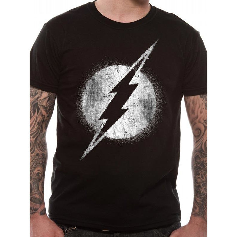The Flash - Logo Mono Distressed T-shirt