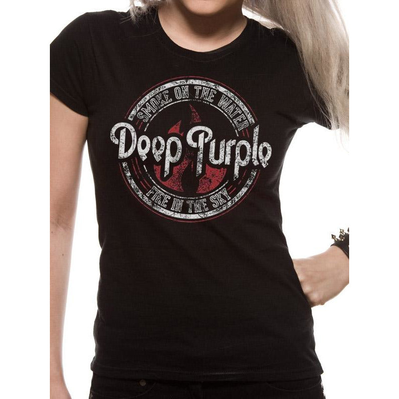 Deep Purple - Fire In The Black Sky Ladies Fitted T-Shirt
