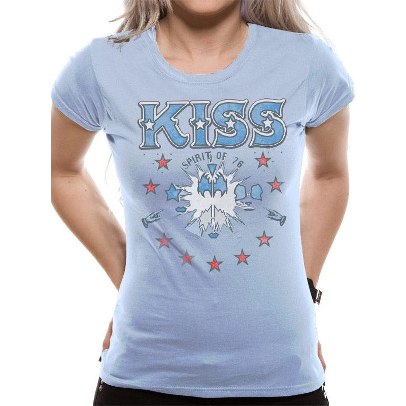 Kiss | Spirit Of 76 Ladies Light Blue Fitted T-Shirt