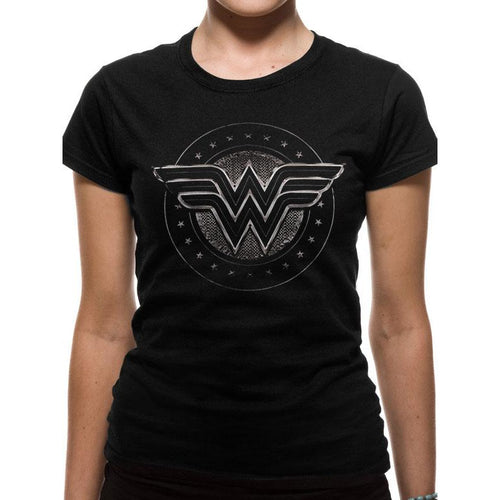 WONDER WOMAN - CHROME LOGO Fitted T-Shirt