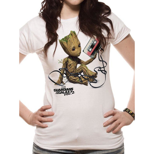 Buy Guardians Of The Galaxy Vol 2 (Groot & Tape) Fitted T-shirt online at Loudshop.com