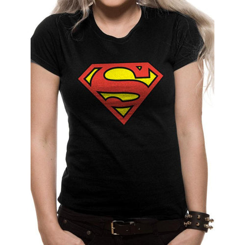 Superman | Logo Fitted Black T-Shirt