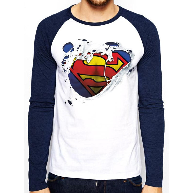 Superman | Torn Logo Baseball Shirt