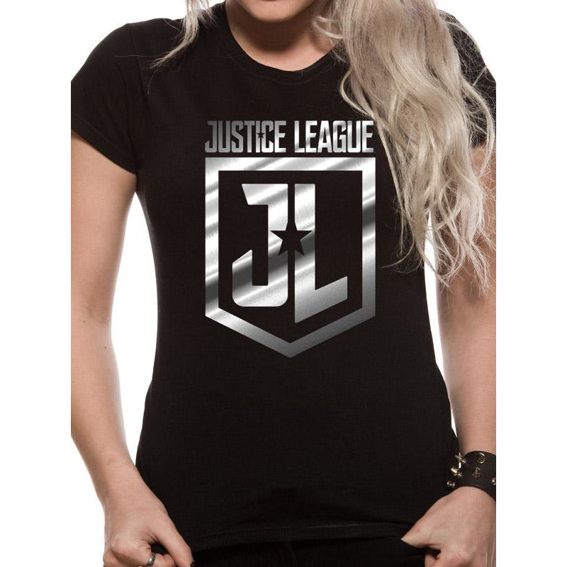 Justice League Movie Foil Logo Fitted T-Shirt