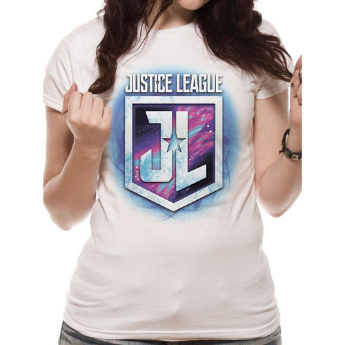 Justice League Movie Purple Shield Fitted T-Shirt
