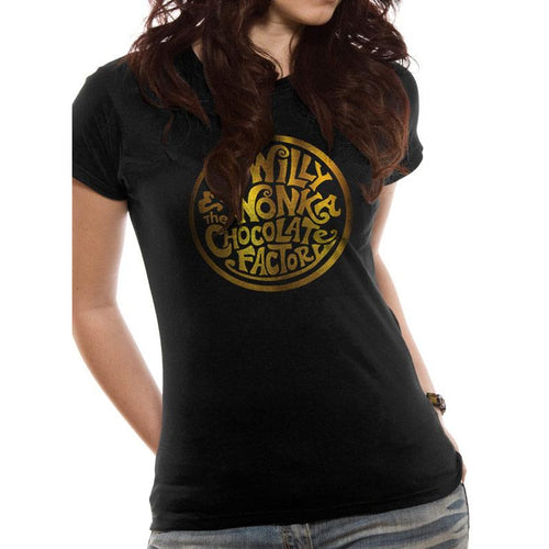 Willy Wonka - Gold Foil Logo Fitted T-shirt