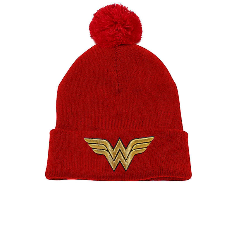 Wonder Woman | 3D Gold Logo Pom Pom Beanie