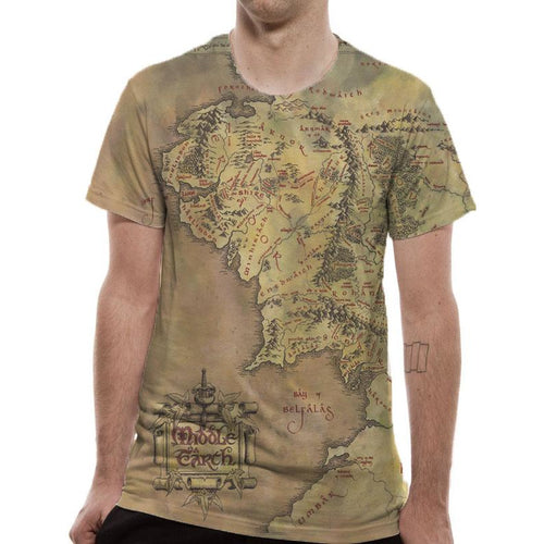 Lord Of The Rings | Middle Earth Map Sublimated T-Shirt