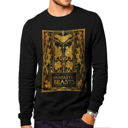 Fantastic Beasts The Crimes of Grindelwald | Gold Foil Book Cover Crewneck Sweatshirt