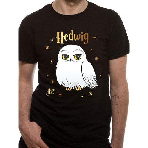 Harry Potter - Foil Hedwig Stars T-Shirt Black