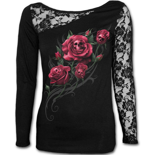 Buy DEATH ROSE - Lace One Shoulder Top Black online at Loudshop.com