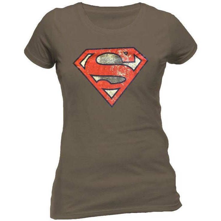 Superman | Distressed Logo Grey Fitted T-Shirt