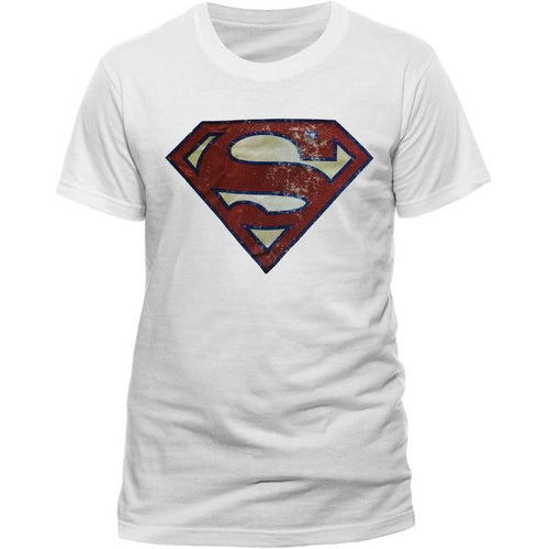 Superman | Distressed Logo White T-Shirt