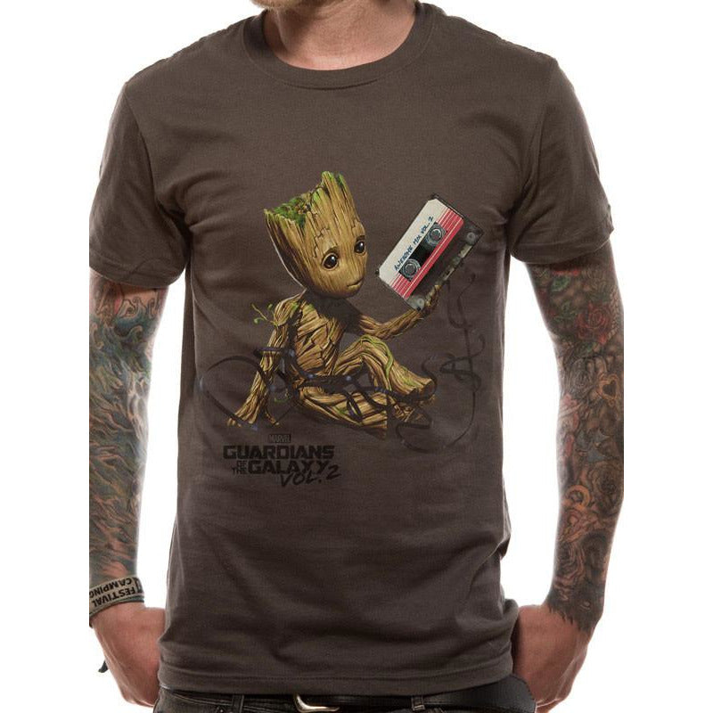 Buy Guardians Of The Galaxy Vol 2 (Groot & Tape UK) T-shirt online at Loudshop.com