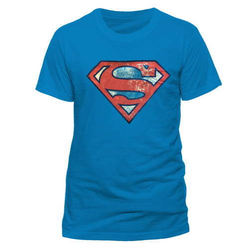 Superman - Distressed Logo Royal Blue T-Shirt