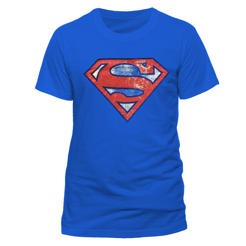 Superman - Distressed Logo Blue T-Shirt