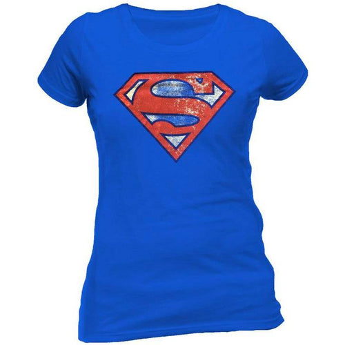 Superman - Distressed Logo Blue Ladies Fitted T-Shirt