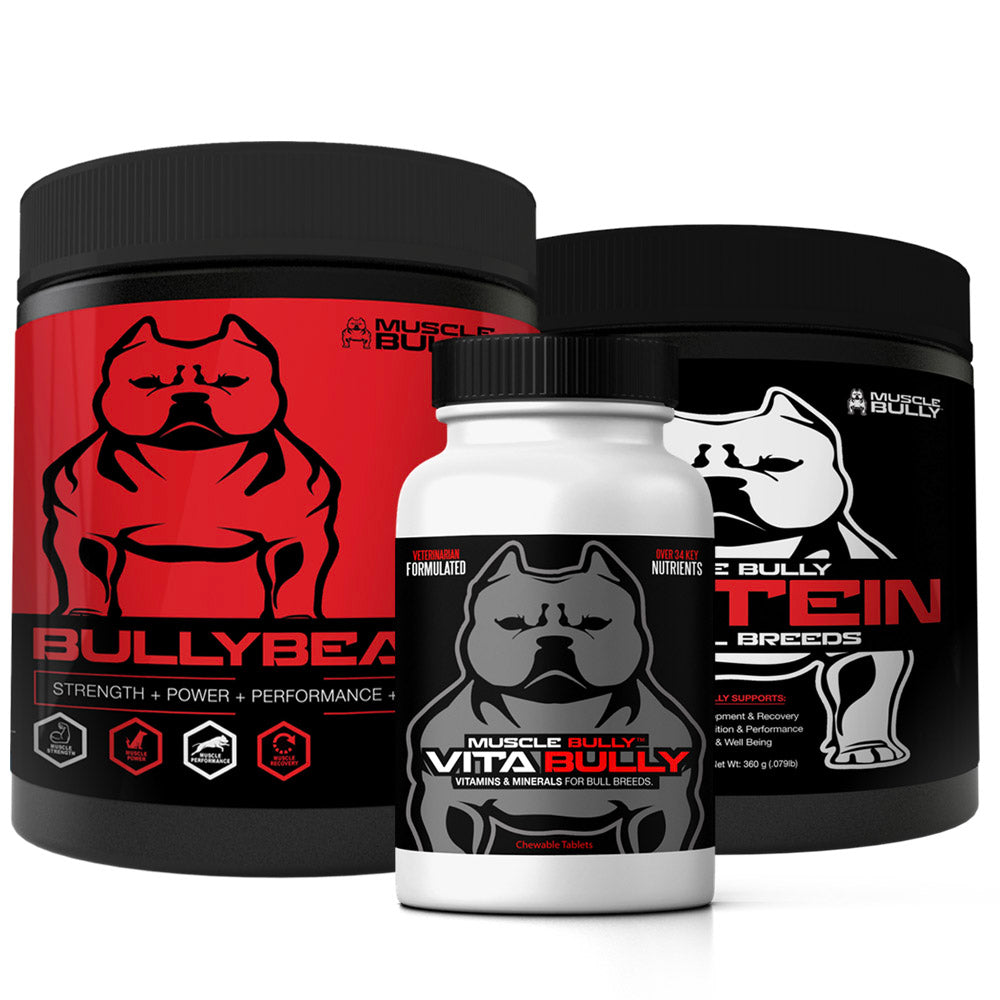 3 Pack Muscle Stack, Includes Bully Beast, Vita Bully Vitamins & Protein, Supports Muscle Growth & Definition.