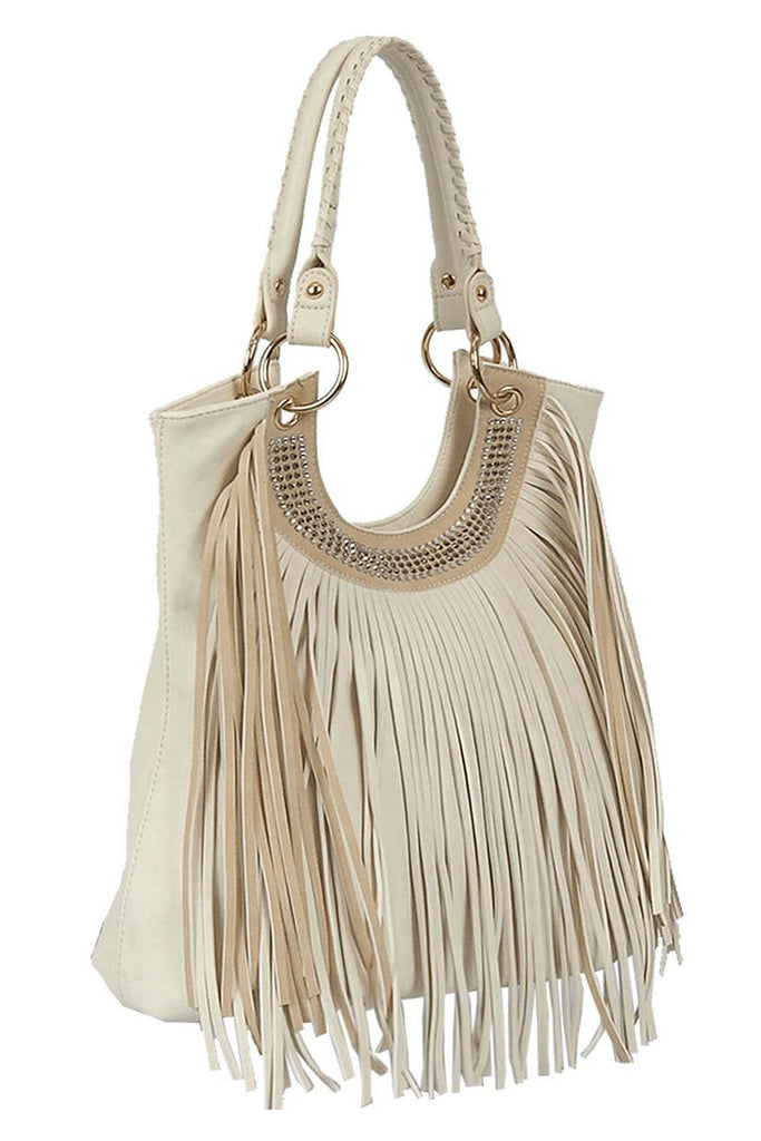 Ivory Essence Fringe Handbag - Sample