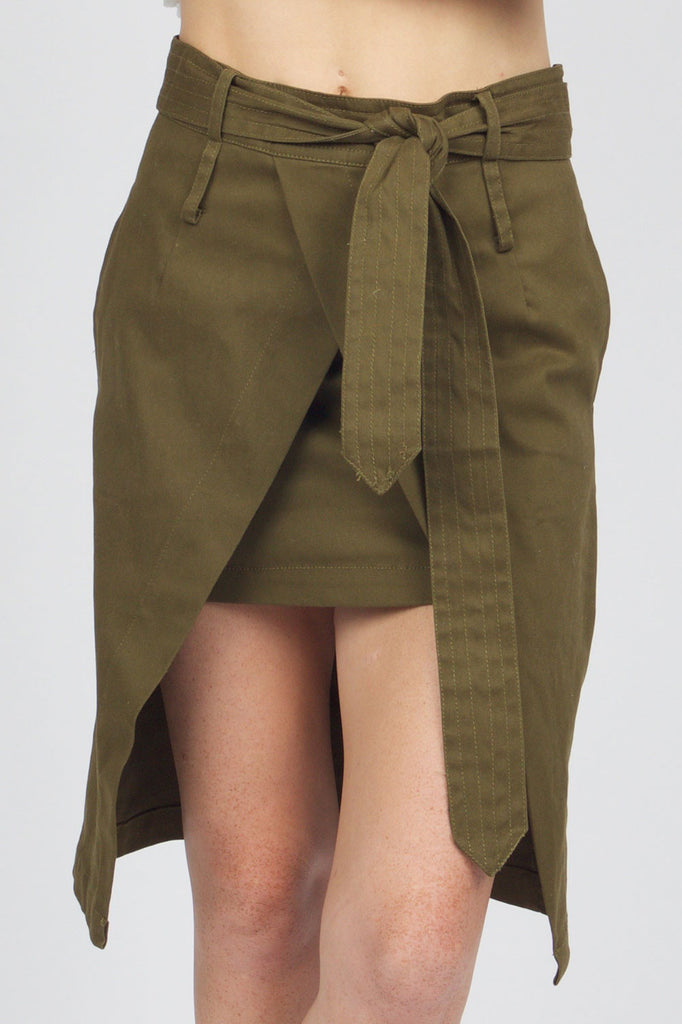Fiona Army Green Wrapped Skirt