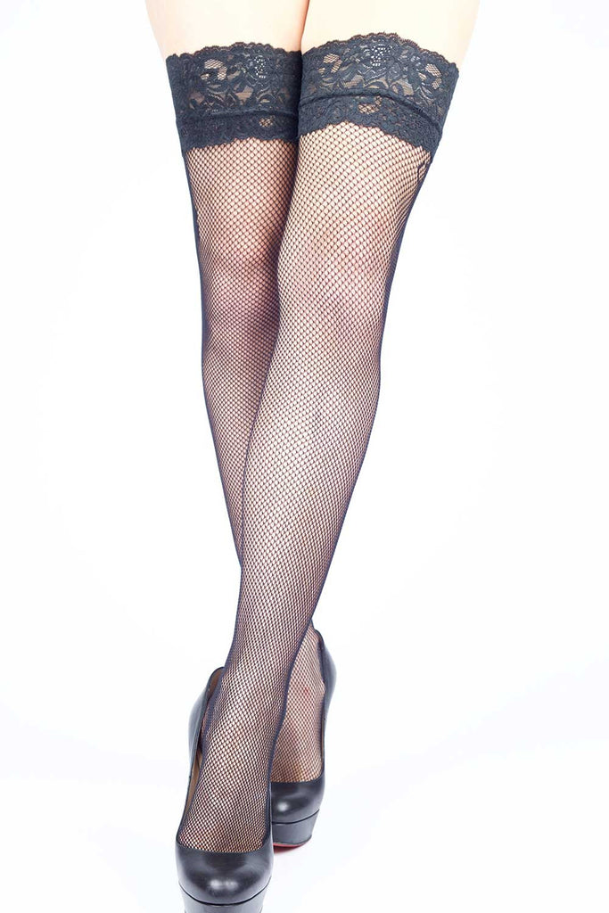 Side Seam Floral Fishnet Thigh-highs