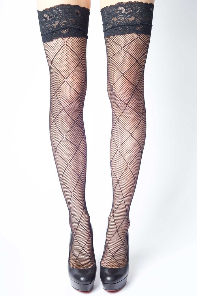 Criss Cross Diamonds Fishnet Thigh-highs