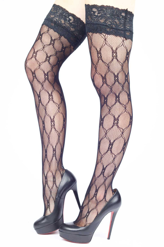 Interwoven Knit w/ Micro Mesh Fishnet Thigh-highs