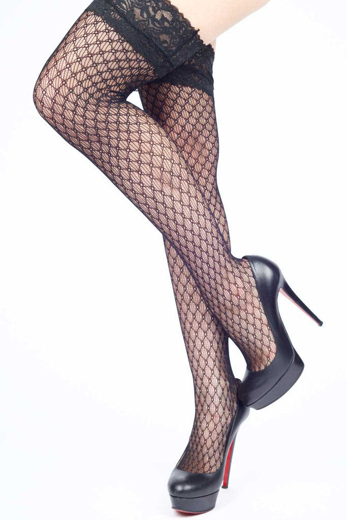 Diamonds Interlink Fishnet Thigh-highs