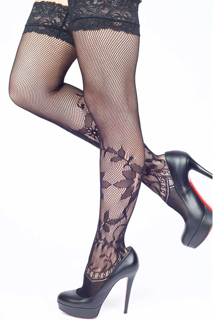Floral Fishnet Thigh-highs