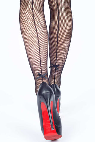 Backseam Ribbons Fishnet Stockings