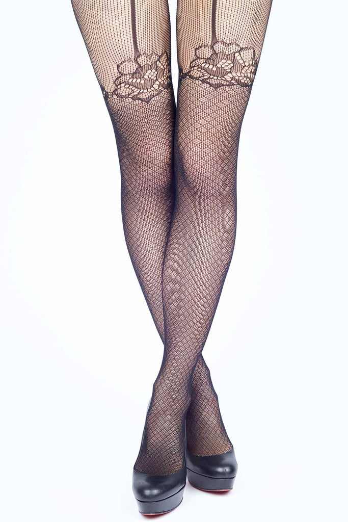 Faux Floral Trim Garter Fishnet Stockings